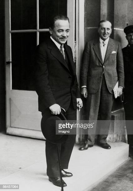 Engelbert Dollfuss, austrian politician, chancellor with the french foreign minister Pau Boncour at the Quai d Orsay in Paris. Photography. France....