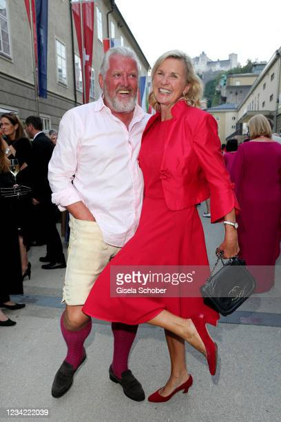 """Engelbert Lainer and Hera Lind attend the premiere of """"Don Giovanni"""" during the Salzburg Opera Festival 2021 at grosses Festspielhaus on July 26,..."""