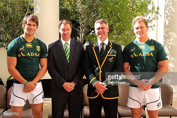 Engelbrecht Jurie Roux Heyneke Meyer and Pat Cilliers during the Springboks official team photograph and media conference at The Cullinan on August...