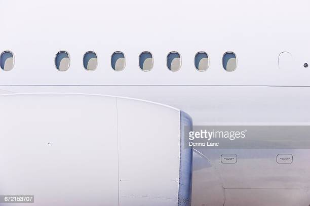 Engine and windows on airplane
