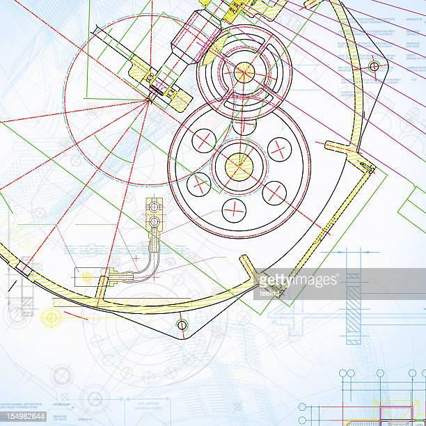 Motor Blueprint-bunte Industrie Dokument Papierkram