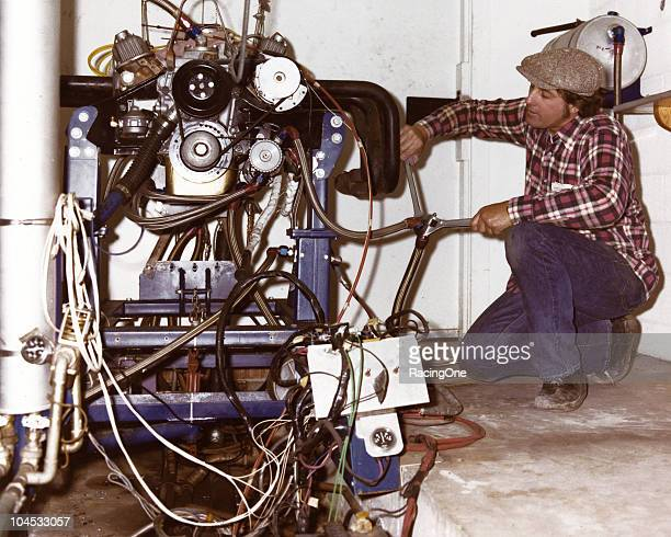 Engine builder Maurice Petty prepares an engine to be run on the dynamometer at the Petty Enterprises shops in Randleman North Carolina