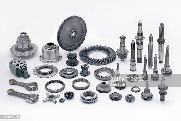 Engine components on white background
