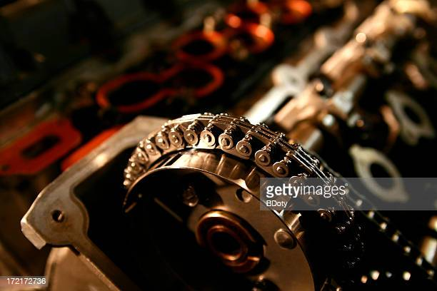 engine detail - timing chain - link chain part stock pictures, royalty-free photos & images