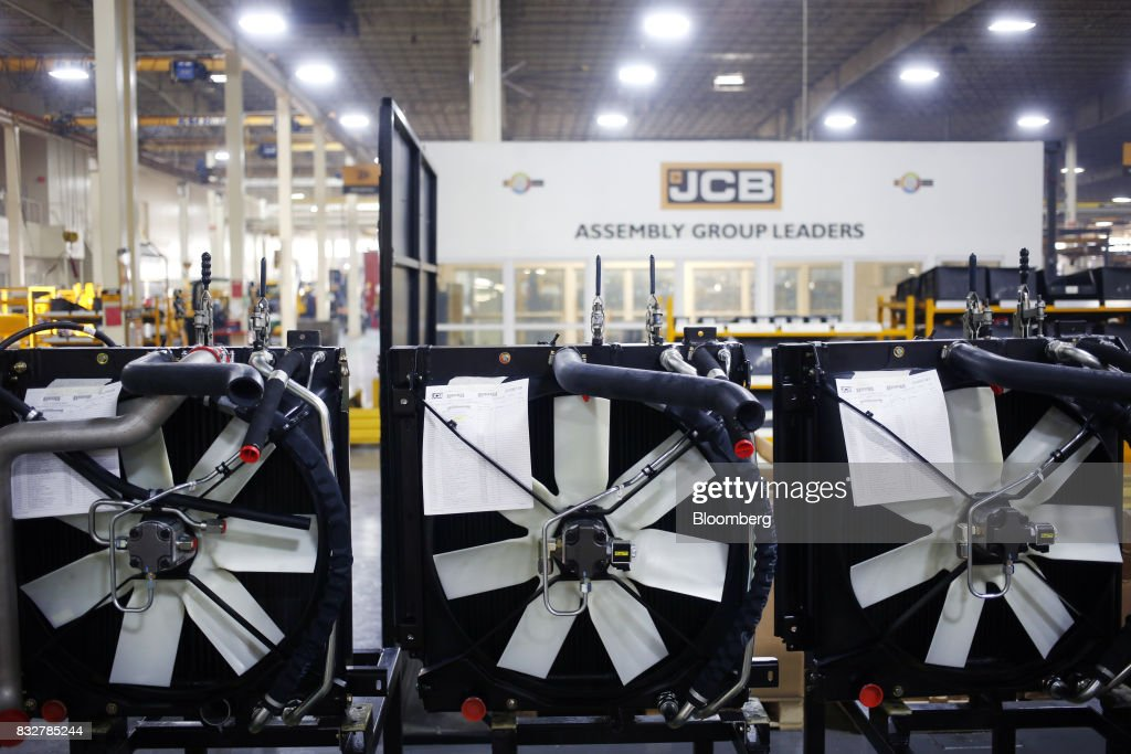 Engine fans sit at the JC Bamford Excavators LTD. (JCB) manufacturing plant in Pooler, Georgia, U.S., on Friday, Aug. 11, 2017. The Federal Reserve is scheduled to release industrial production figures on August 17. Photographer: Luke Sharrett/Bloomberg via Getty Images