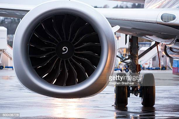 LEAP engine is pictured on the first Boeing 737 MAX airliner is pictured at the company's manufacturing plant on December 8 in Renton Washington The...
