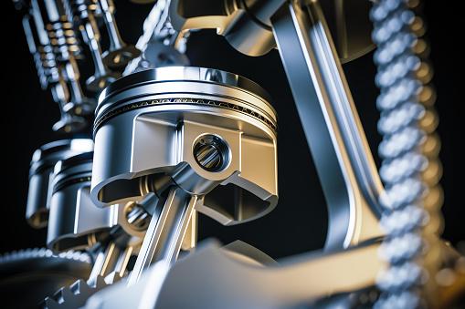 Engine pistons. Crankshaft mechanism. 3d render 1059972498