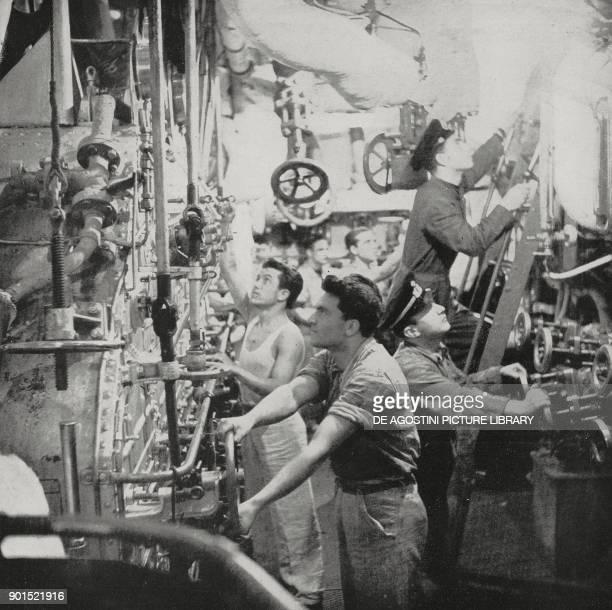 Engine room of an Italian submarine in the Mediterranean World War II from L'Illustrazione Italiana Year LXIX No 48 November 29 1942
