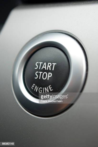 Engine start or stop button, close-up