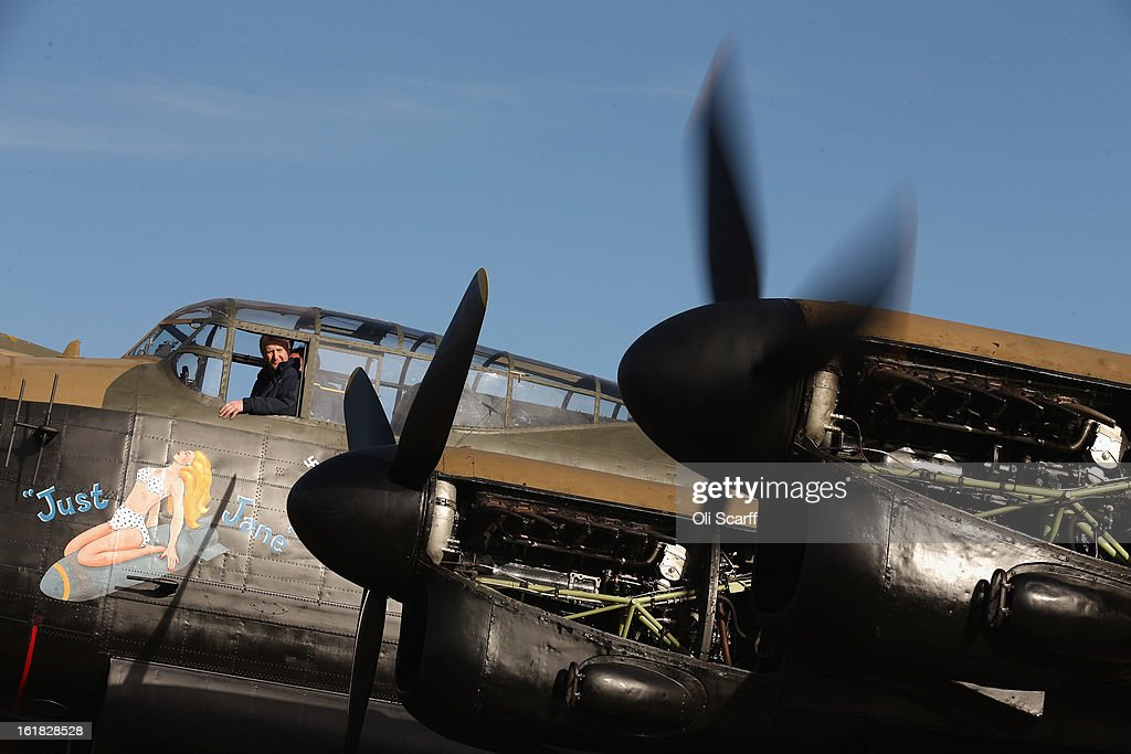 Engine tests are carried out on the Lancaster bomber 'Just Jane', which is being restored with the aim of getting it airworthy, at Lincolnshire Aviation Heritage Centre on February 14, 2013 in East Kirkby, England. The plane, which last flew in 1971, would become one of only three airworthy Lancaster bombers in the world. Brothers Fred and Harold Panton, owners of the Lincolnshire Aviation Heritage Centre, are restoring the plane in memory of their sibling, Christopher Panton, who died aged 19 when his Lancaster was shot down in 1944.