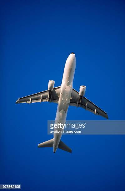 CFM565 enginecowlings of an Alitalia Airbus A320200 flying enroute against a blue sky