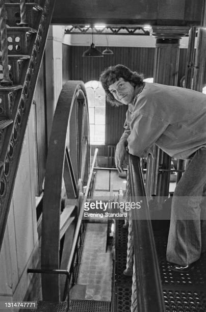 Engineer and conservationist Jonathan Minns with one of the compound beam engines at the Goldstone pumping station in Sussex, UK, 2nd July 1974....