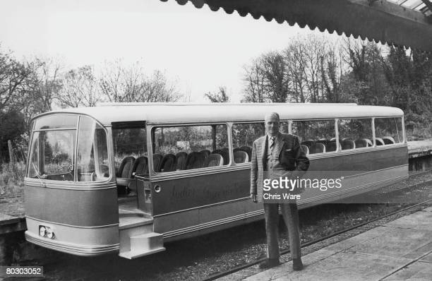 Engineer and former Wing Commander Charles Ashby Sadler with his Sadler Pacerailer at Droxford station in Hampshire 21st November 1966