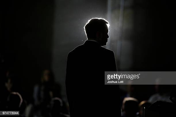 Engineer and tech entrepreneur Elon Musk of The Boring Company listens as Chicago Mayor Rahm Emanuel talks about constructing a high speed transit...