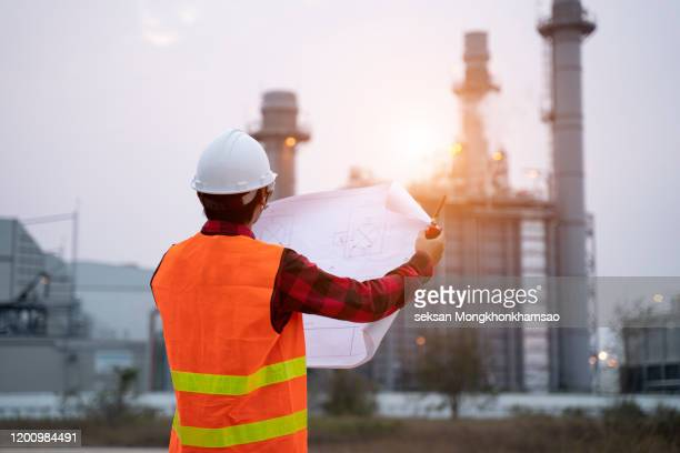 engineer and working new project in power plant, engineer concept,professional,safety,industry - power occupation stock pictures, royalty-free photos & images