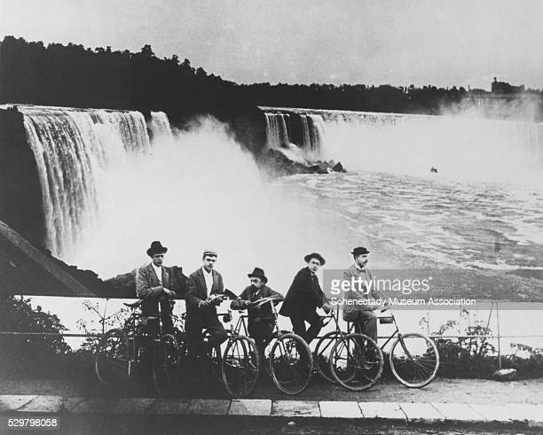 GE Engineer Charles P Steinmetz and some of his friends and colleagues visit Niagara Falls on bicycles ca 1900