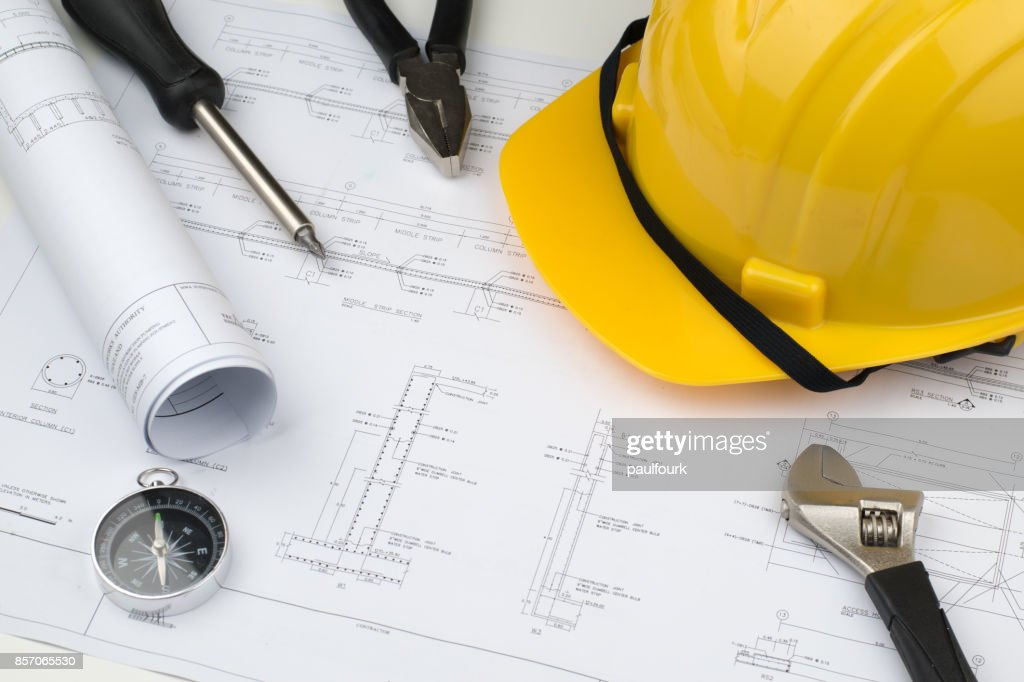 Engineer construction business work concept engineering blueprint engineer construction business work concept engineering blueprint diagrams paper drafting and industrial equipment stock malvernweather Image collections