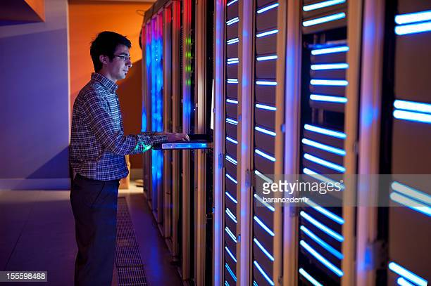 IT engineer is configuring servers