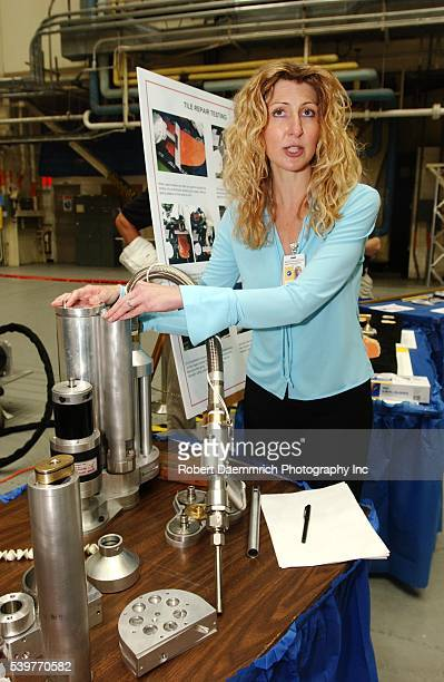NASA engineer Lora Bailey explains how epoxylike filler MA25C is used to repair damaged shuttle tiles by astronauts in space using some exotic tools...