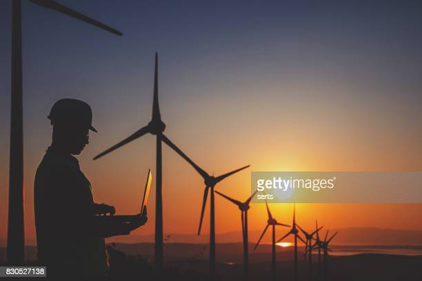 Engineer man using computer in wind turbine farm at sunset