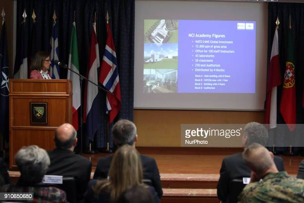 Engineer Maria Rosario Mendes delivers a speech during the NATO Secretary General Jens Stoltenberg visit to the Naval Striking and Support Forces...