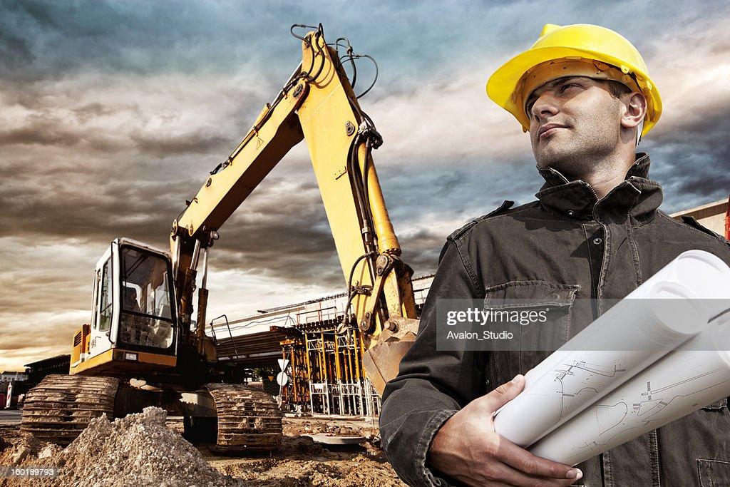 Engenheiro de construção site : Foto de stock