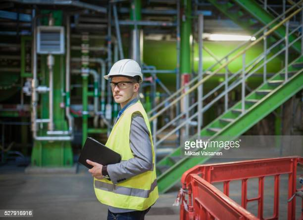 engineer on modern power station construction site