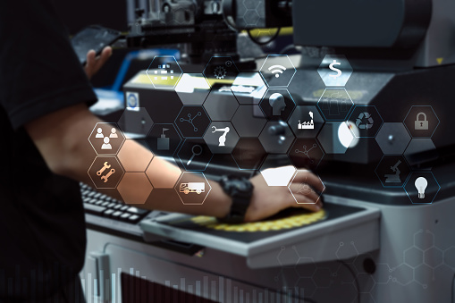 Engineer or Technician man with business industrial tool icons, engineer using tablet with industrial business concept. Industry 4.0 concept - gettyimageskorea