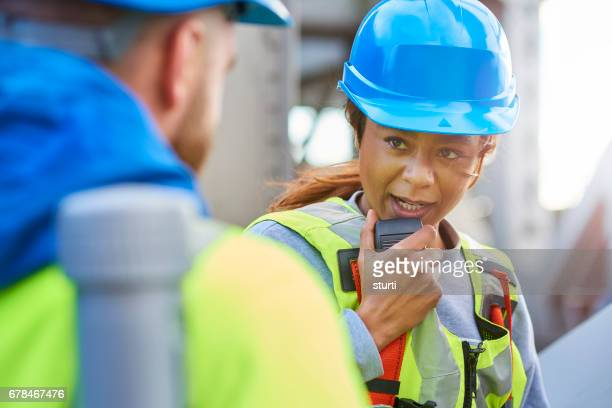 engineer radios through to collegues