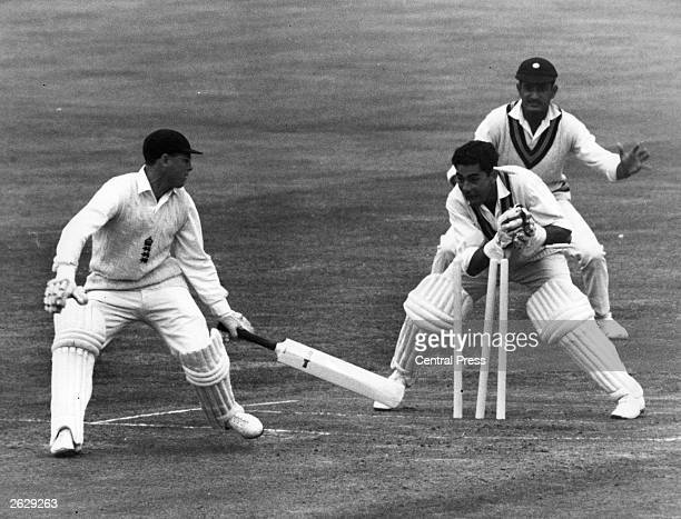 Engineer, the Indian cricketer, stumps Geoff Boycott, the English cricketer in the third Test Match at Edgbaston.