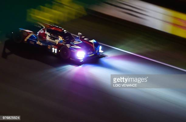 BR Engineering BR1 AER LM P1 Russian driver Vitaly Petrov competes during the 86th Le Mans 24hours endurance race at the Circuit de la Sarthe at...