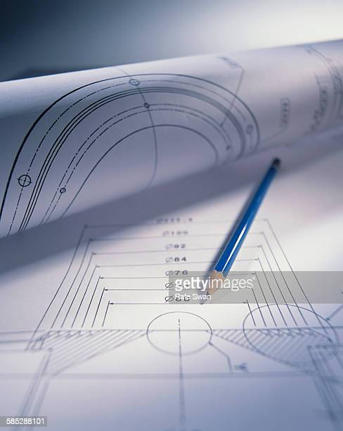 Engineering drawing and pencil
