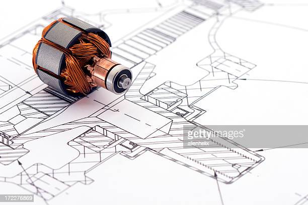 engineering drawing - electric motor stock photos and pictures