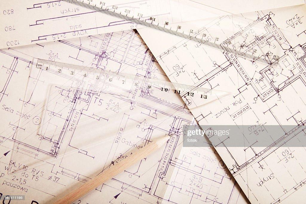 Engineering electricity blueprint : Stock Photo