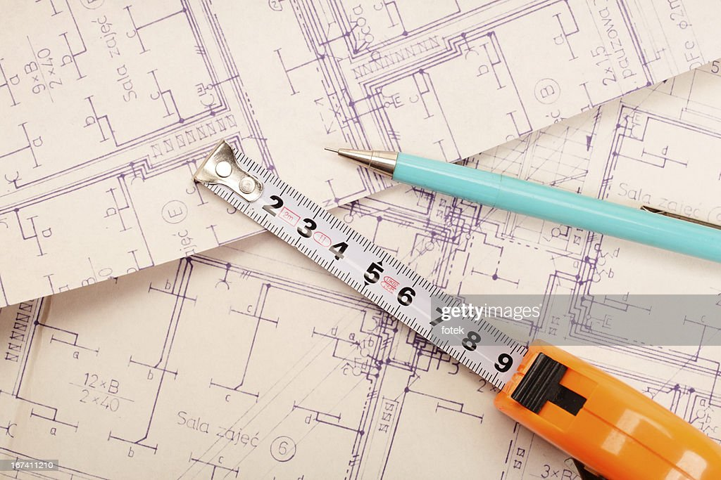 Engineering electricity blueprint : Stock Photo