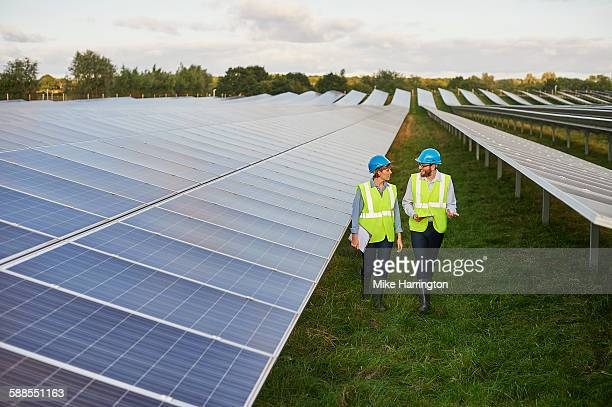 Engineering surveyors talking on solar farm