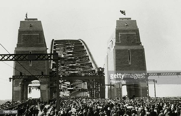19th March 1932 The Sydney Harbour Bridge showing a large crowd pictured on the opening day