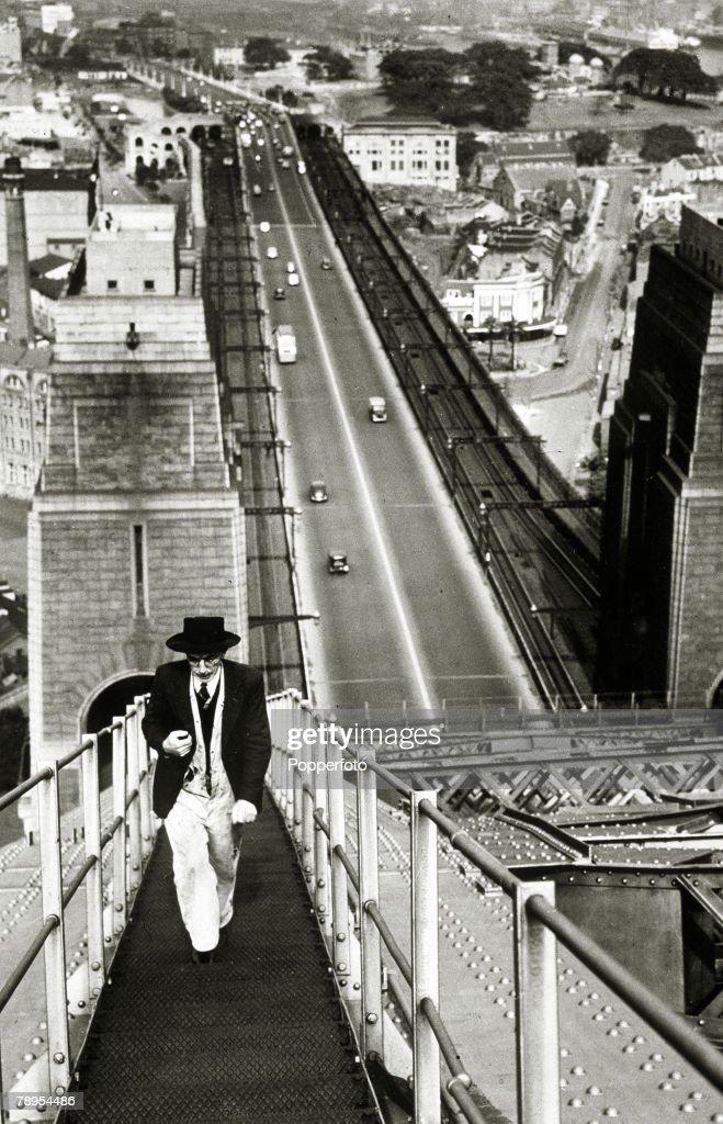 circa 1940, The Sydney Harbour Bridge, showing the 1800 feet catwalk on the bridge's top chord
