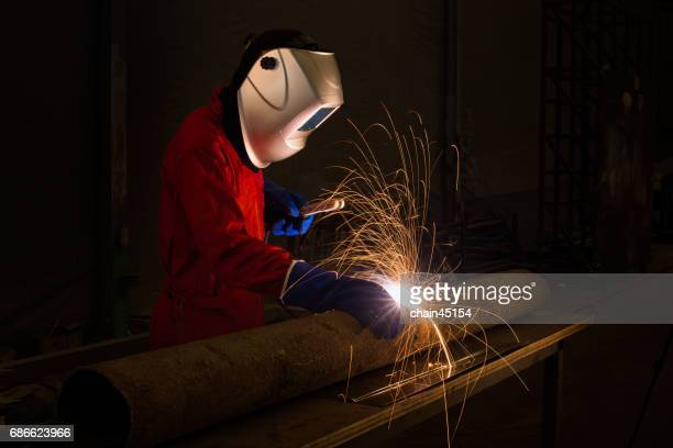 Engineering welding the pipe for industrial.