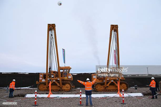 Engineers are seen during the groundbreaking ceremony of the Trans Anatolian Natural Gas Pipeline Project will be carry Azerbaijan's natural gas to...