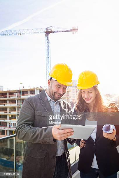 Engineers at construction side