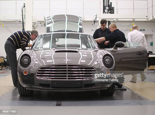Engineers designers and craftsmen put the finishing touches to 'Speedback' the new luxury British sports car made by David Brown Automotive on March...