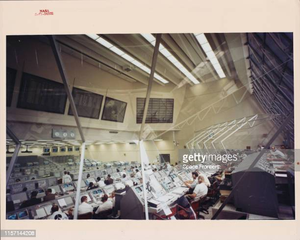 Engineers in Firing Room 3 of the Launch Control Center at the Kennedy Space Center in Florida monitor a Countdown Demonstration Test a few days...