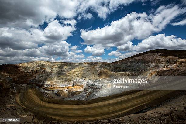 Engineers install explosives to remove soil while mining in a pit at the Yanacocha gold mine in Cajamarca Peru on Thursday Oct 22 2015 Operations at...