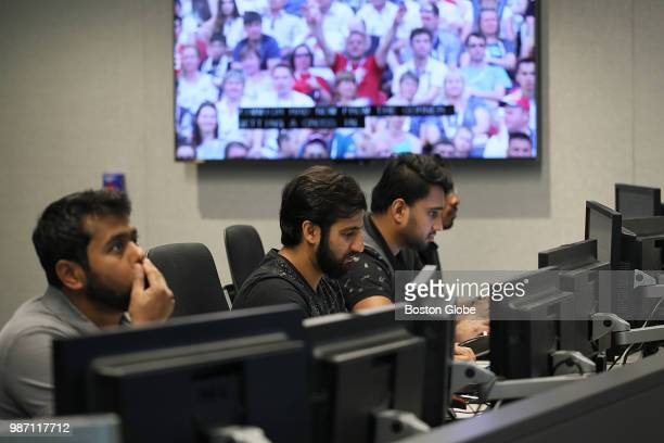 Engineers keep their eyes on World Cup soccer at Akamai in Cambridge MA on June 28 2018 Fans around the world are depending on streaming video for...