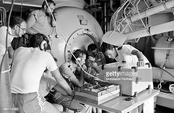 Engineers of the submarine rescue ship Anteo overseeing the recovering on a monitor thank to the underwater cameras After fortytwo years the Italian...