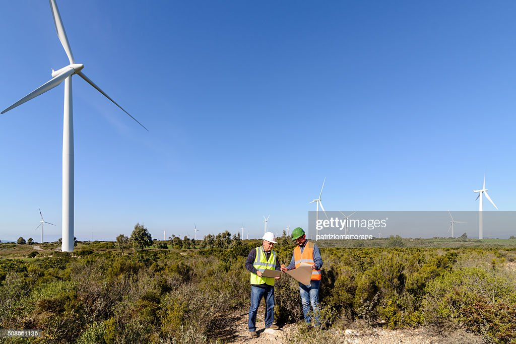 Engineers of Wind Turbine : Stock Photo