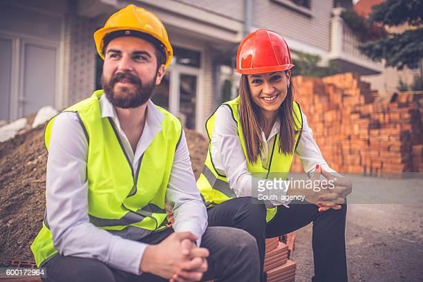 Engineers on a break outdoors