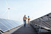 Engineers on a solar power plant