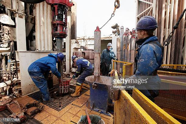 Engineers on the drilling platform of the Cuadrilla shale fracking facility on October 7 2012 in Preston Lancashire The controversial method of...